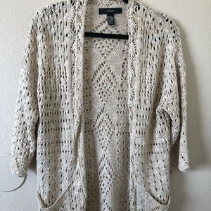 Knit, long, beachy beige cardigan with pockets